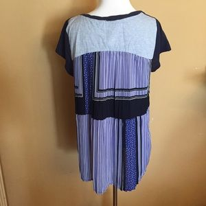 Anthropologie One September Blue Pleated Back Top